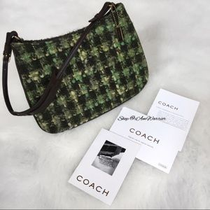Coach NWOT tweed and leather purse